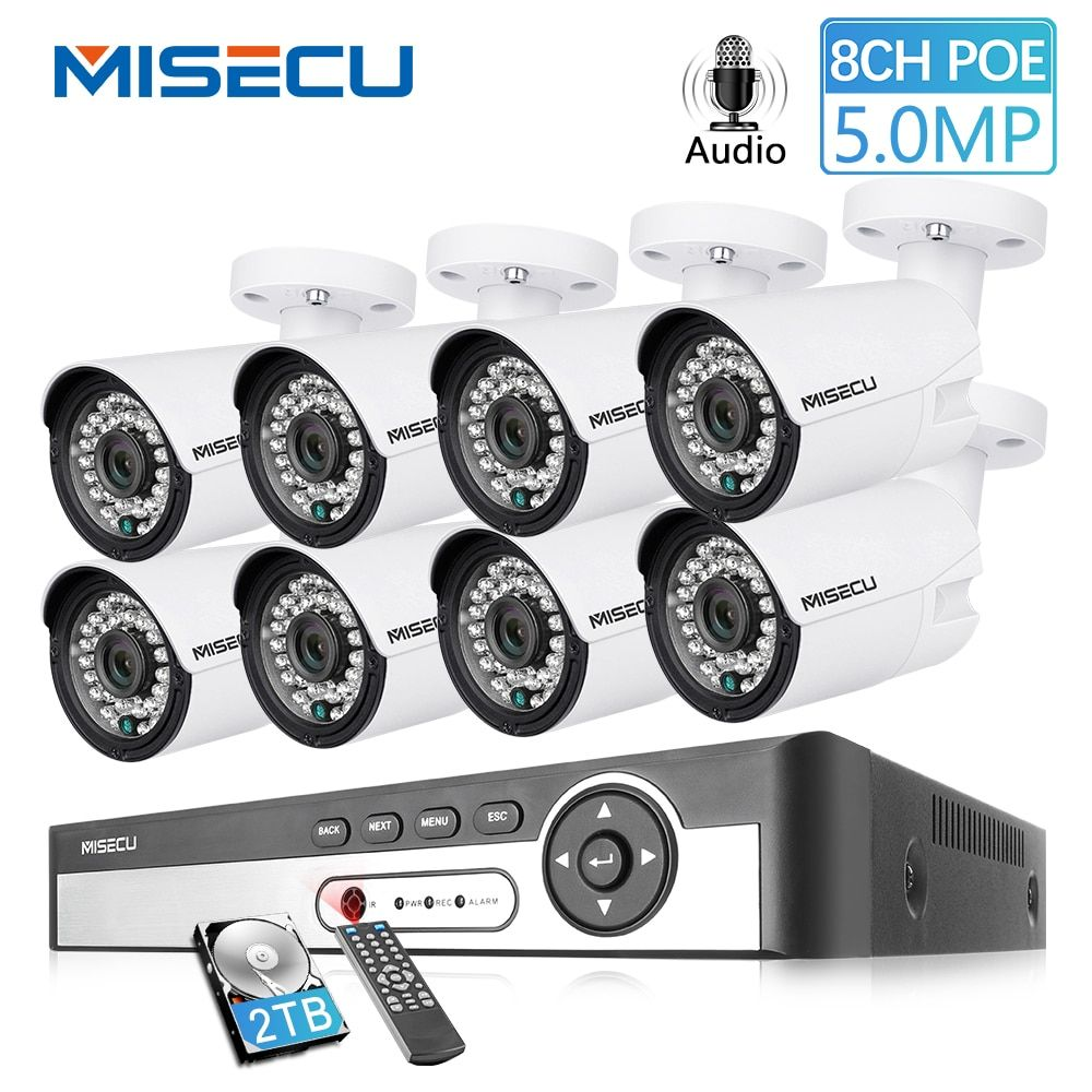 MISECU H.265 48 V 8CH POE CCTV System 4.0MP Kugel IP POE Sicherheit Kamera Audio Record Outdoort Wasserdichte P2P Überwachung kit