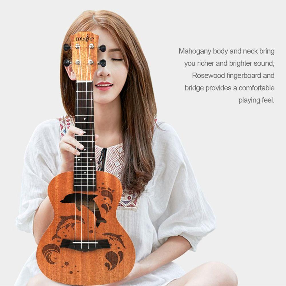 21/23 pouces professionnel Sapele dauphin motif Ukelele guitare acajou cou délicat Tuning Peg 4 cordes bois ukulélé cadeau nouveau