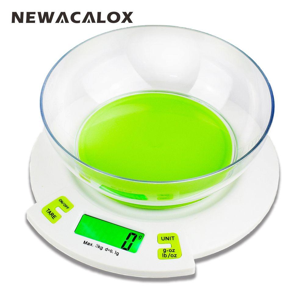 Newacalox 3 кг x 0.1 г Цифровой Детские весы для Еда die почтовый баланс Кухня Весы Пособия по кулинарии Инструменты электронный Вес весы