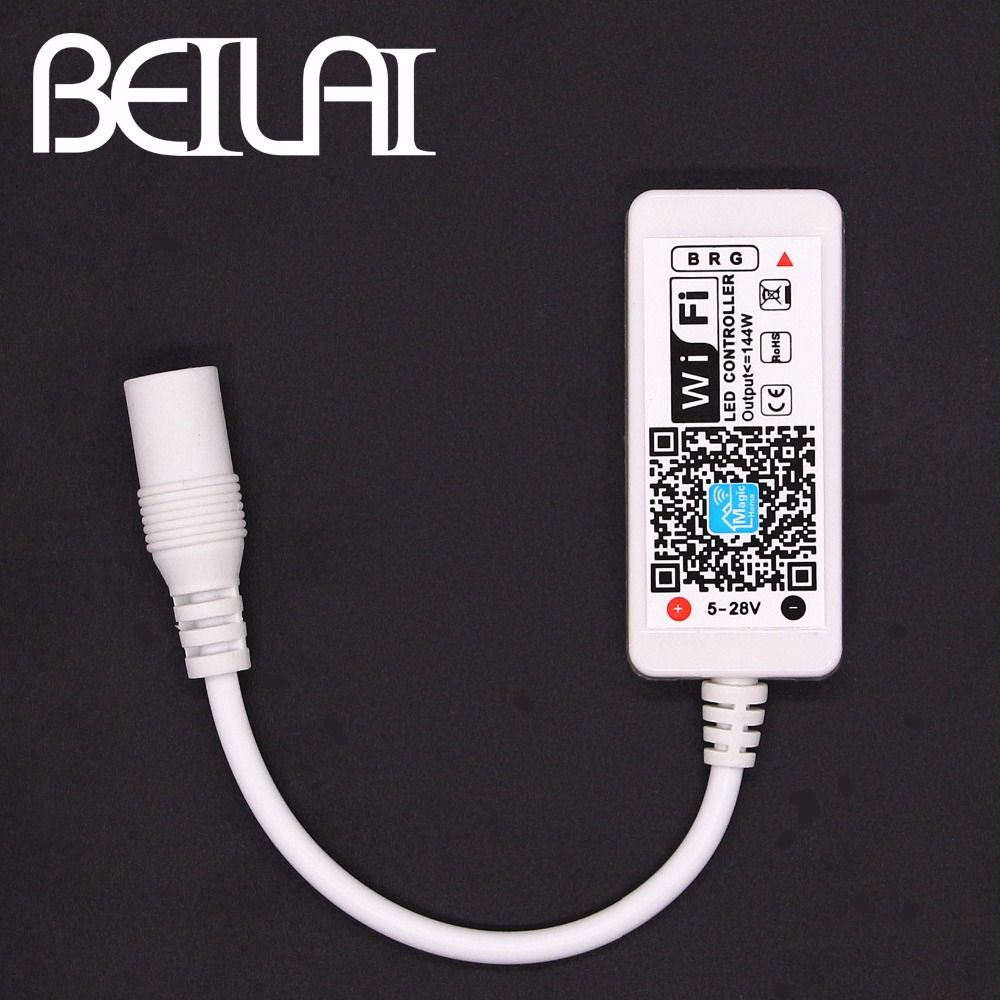 BEILAI DC 12V Mini WIFI LED RGB Controller With DC Female By Smartphone Control For SMD 5050 2835 RGB LED Strip Light