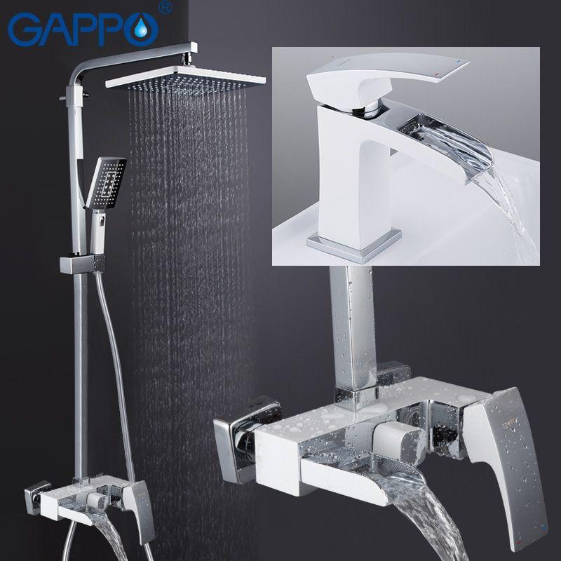 GAPPO Dusche Armaturen bad dusche bad wasserhahn wasserfall dusche kopf set wand montiert wasserhahn bad dusche system griferia