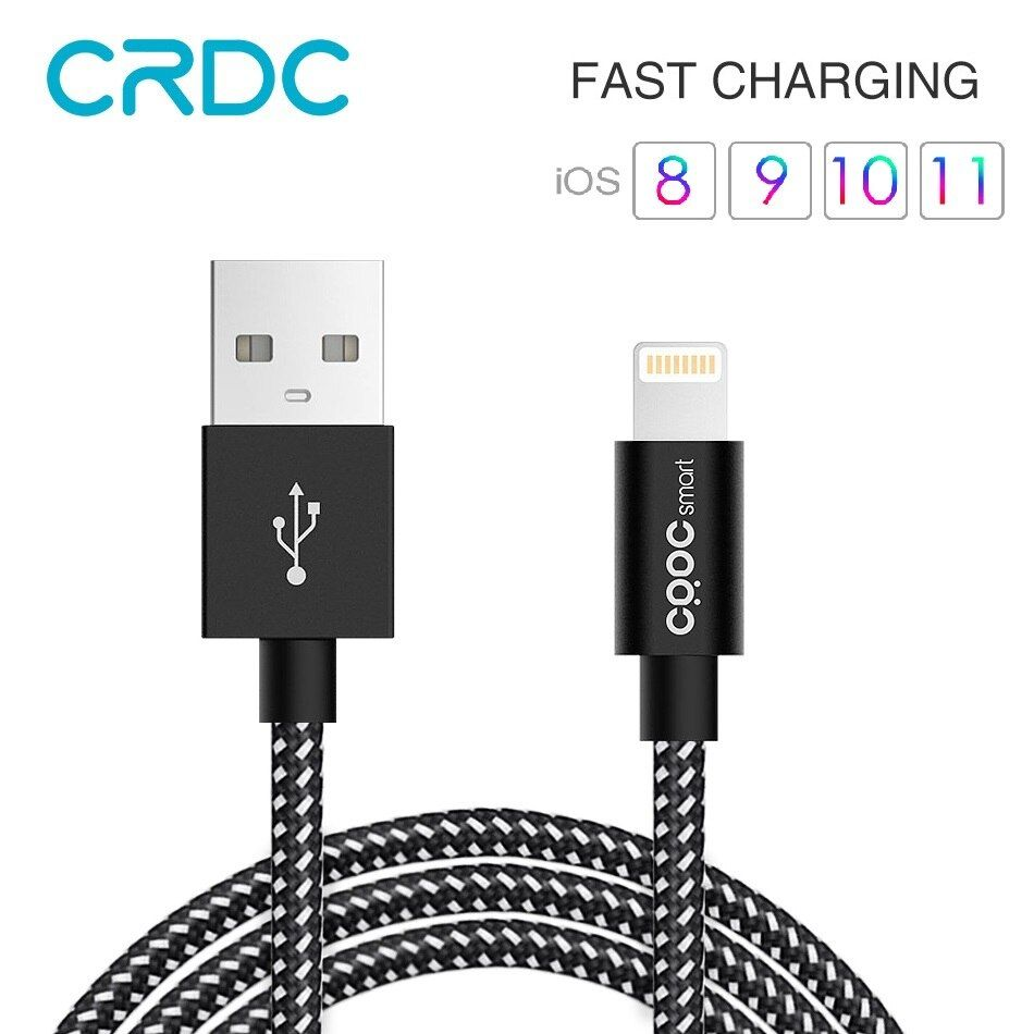 CRDC USB For iPhone Cable MFi Lightning Cable For iPhone x 7 SE iPad 2.4A Fast Charger Phone Data Cable for iPhone 6S 8 plus etc