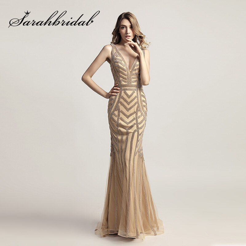 Champagne Mermaid Formal Evening Dresses 2017 Elegant V Neck Cap Sleeves Stunning Beading Crystals Prom Party Gowns LX476