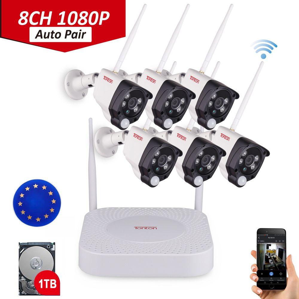 Tonton 8CH 1080P Audio Recording 1TB HDD Security Wireless CCTV NVR Kits 2MP Waterproof WIFI Cameras Video Surveillance System