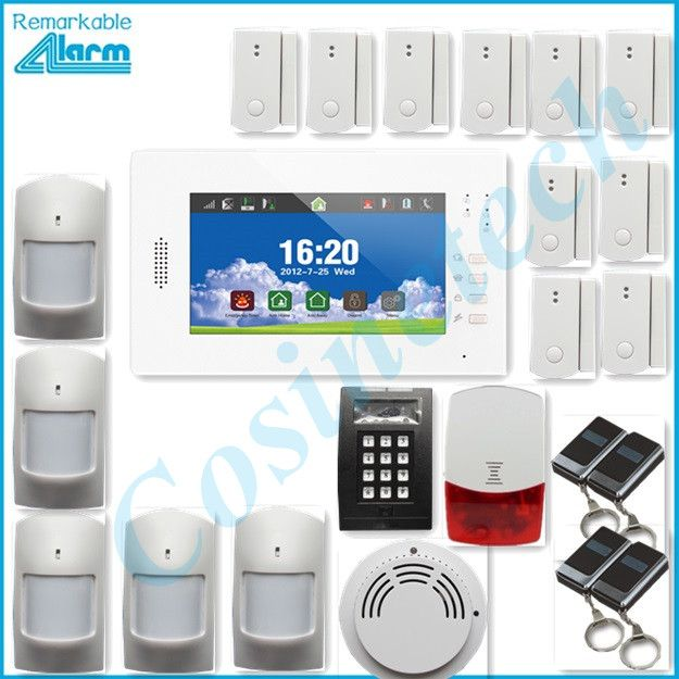 hot sales advanced 7 inch touch screen 868MHZ GSM alarm system home security alarm system with lithium battery,strobe siren