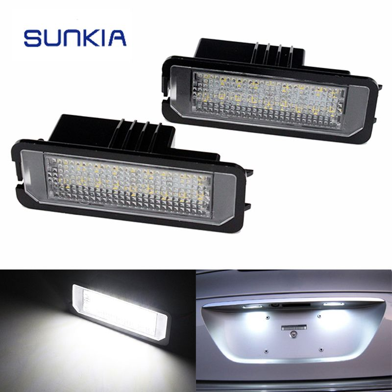2Pcs/Set SUNKIA Canbus Error Free White 18SMD LED Number License Plate Lights For SEAT Altea Exeo/ST Ibiza Leon Free Shipping