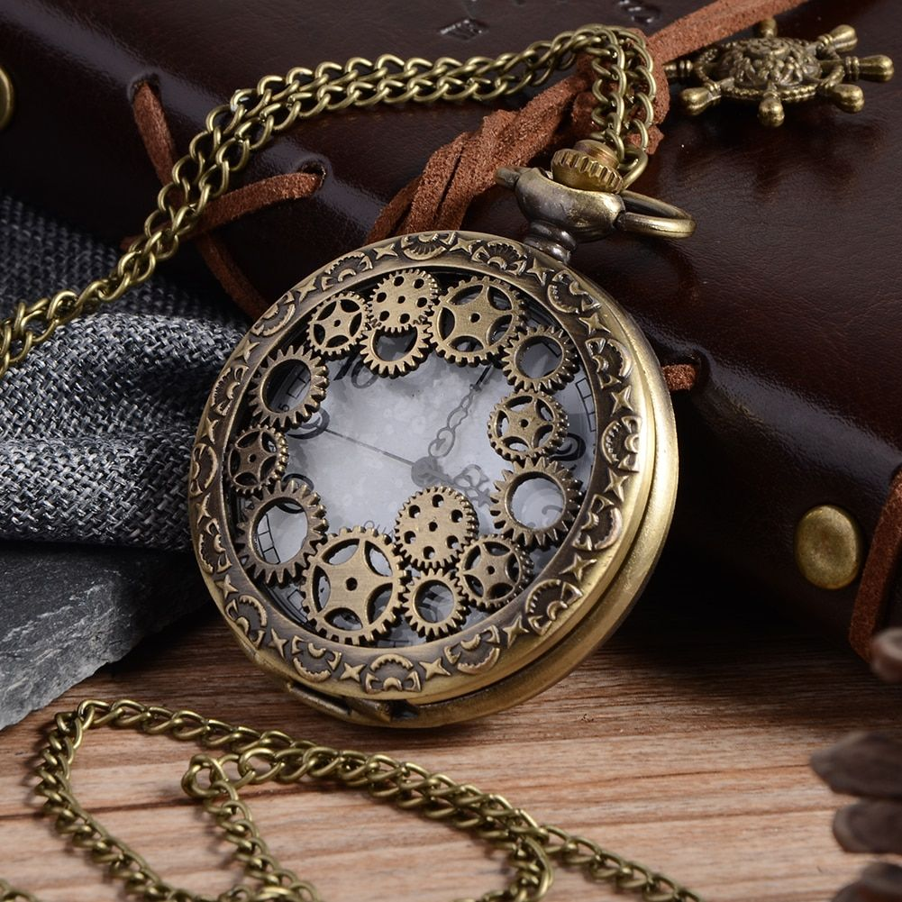 Relogio Rétro Bronze Quartz Montre De Poche steampunk Horloge Montres avec des Engins Creux Collier montres Des Femmes Des Hommes De Noël Cadeaux