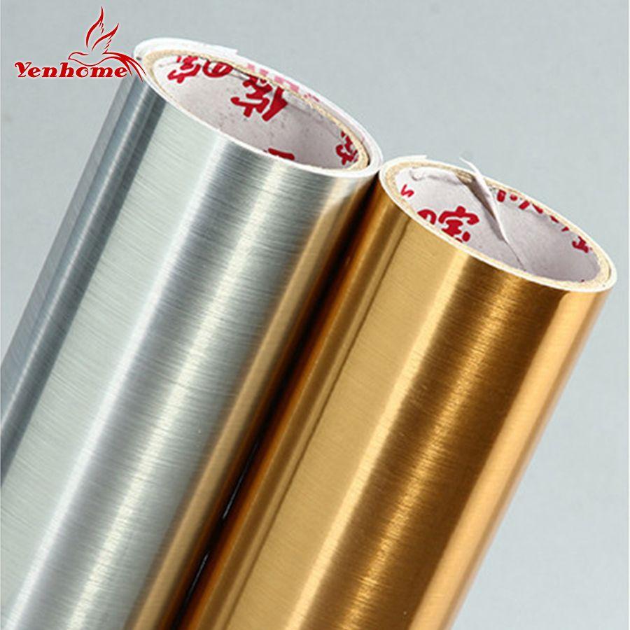 Imperméable à l'eau paillettes PVC stickers muraux argent or brosse auto-adhésif papier peint comptoir armoires de cuisine décoration de la maison film