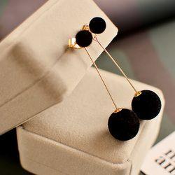Горячая Мода 11,11 милые двойные висячие серьги из искусственного меха для женщин ювелирные изделия с длинными серьгами Pom серьги кулон ювели...