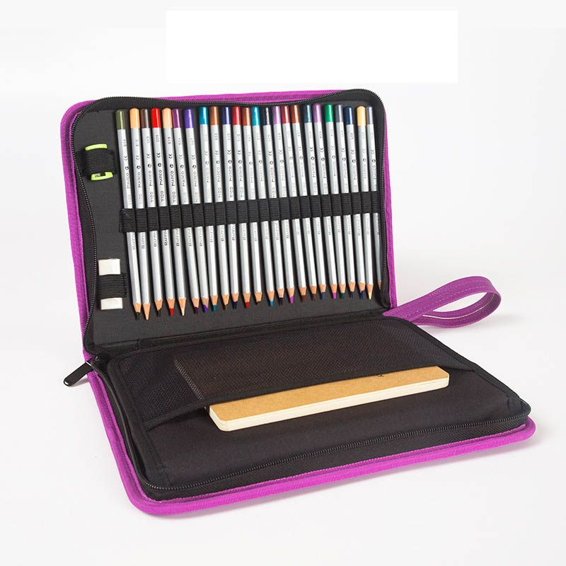 72 Holes PU Leather Pencil Case Cute Kawaii Folding Multi Penal Pencilcase Professional Big Pen Bag Box Office Stationery Pouch