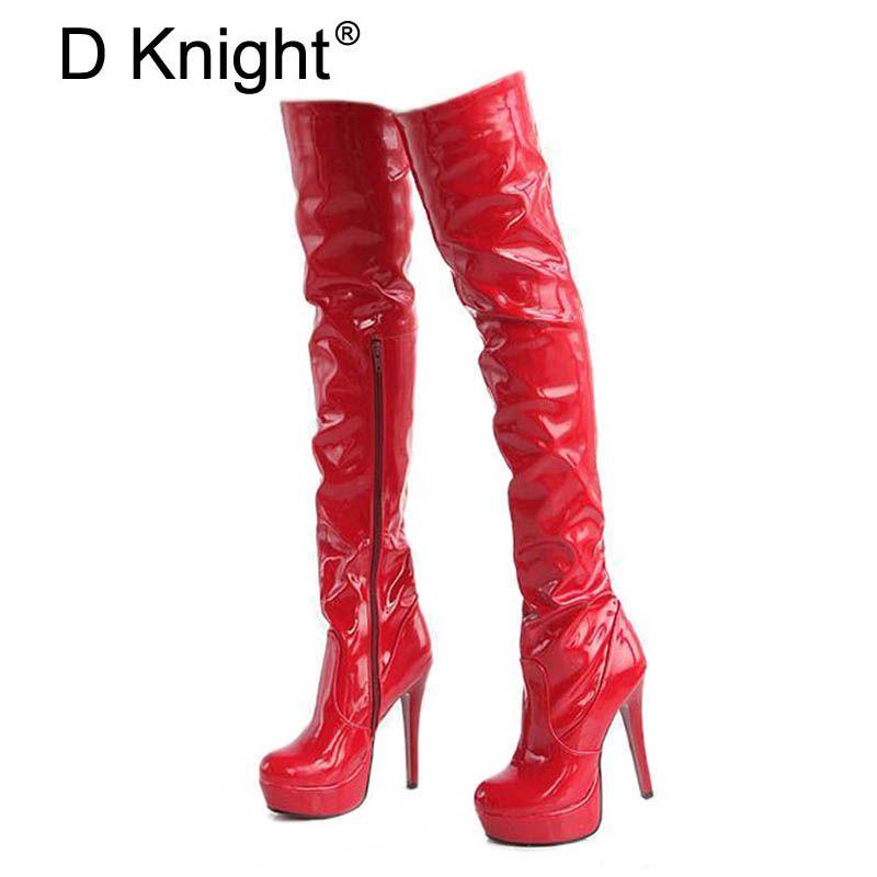 Femmes talons hauts bottes Sexy plate-forme de brevet à talons hauts sur le genou bottes pour femmes dames pôle danse bottes taille 34-43