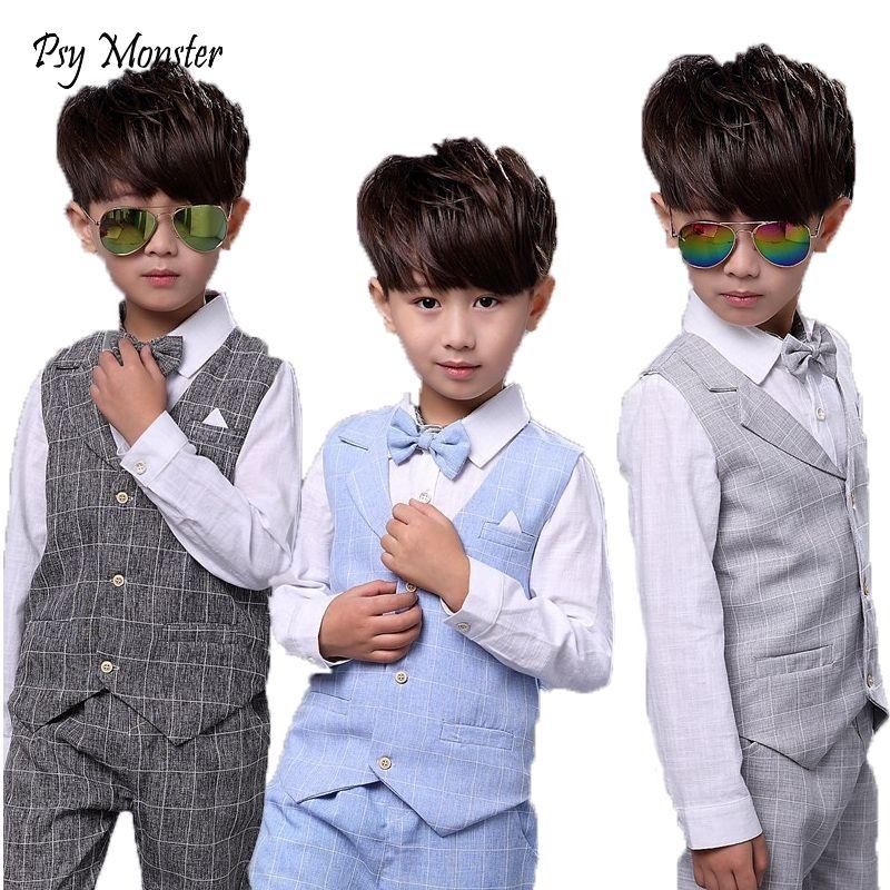 Enfants ensembles pour garçons costumes formels anniversaire mariage fête robe chemise Gentleman gilet gilet pantalon Style coréen enfants vêtements
