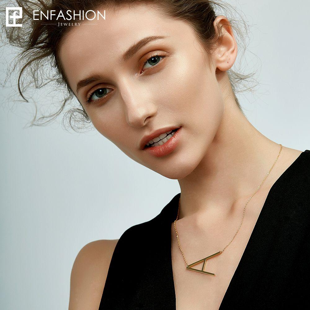 EnFashion lettre colliers Alphabet pendentifs initiaux collier couleur or acier inoxydable collier ras du cou pour les femmes bijoux