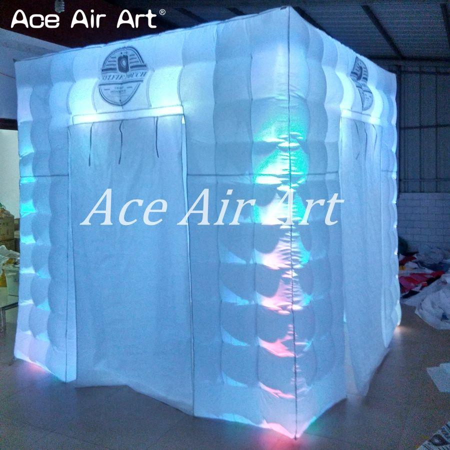 8ft x8ft x8ft más brillante iluminación toda glow pared cabina inflable de la foto de la boda cubo tienda con logo para los ángulos
