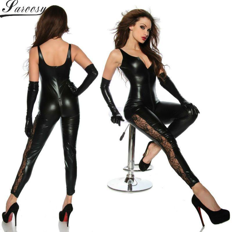 2016 nouvelle Lingerie Sexy pour les femmes noir élastique brillant PU cuir gilet body ouvert entrejambe avec fermeture éclair jambe dentelle détail