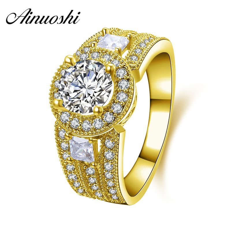 AINUOSHI 10K Solid Yellow Gold Wedding Ring 3 Row Drill 1 Carat Round Cut Sona Simulated Diamond Halo Women Engagement Band Ring