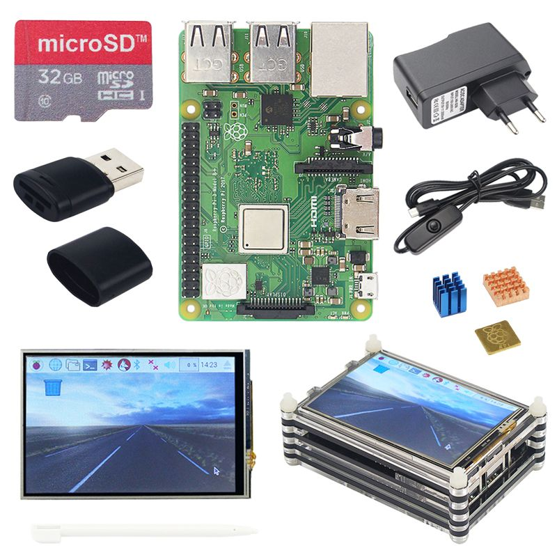 Raspberry Pi 3 B + Plus Kit de démarrage Raspberry Pi 3 + 3.5 pouces écran tactile + boîtier acrylique 9 couches + alimentation 2.5A + dissipateur de chaleur