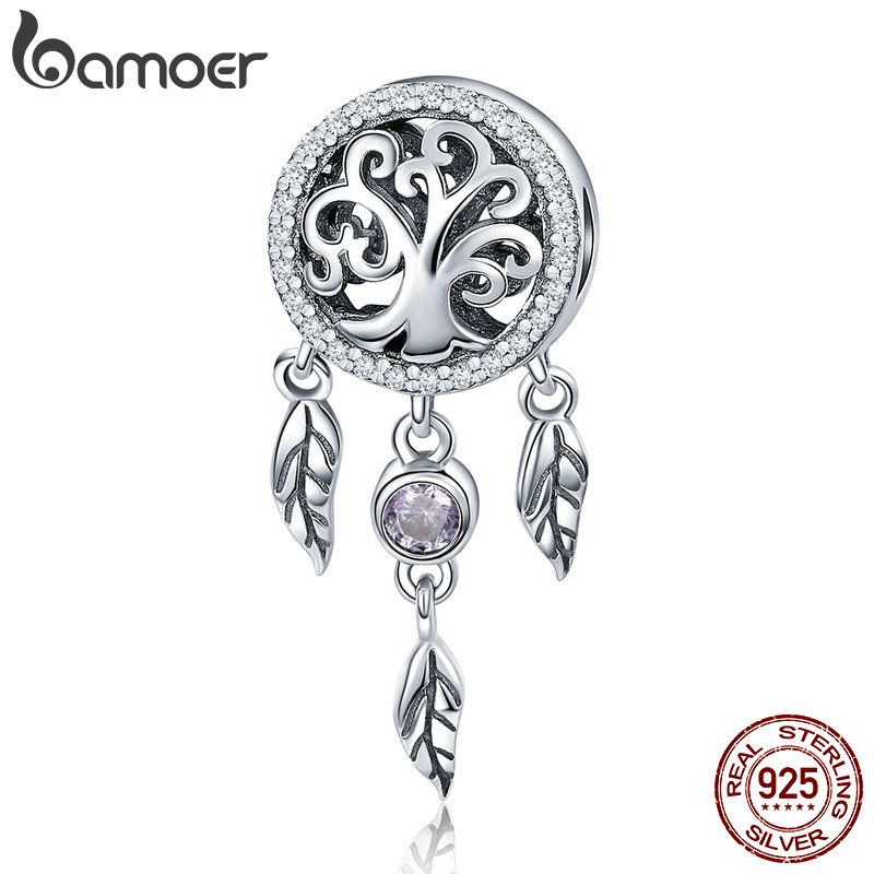 BAMOER 100% 925 Sterling Silver Dream Catcher Holder Family Tree Beads fit <font><b>Women</b></font> Charm Bracelets Necklaces DIY Jewelry SCC723