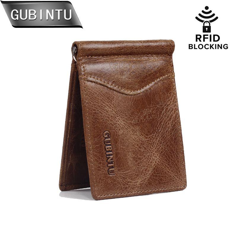 GUBINTU hommes RFID bloquant ID carte de crédit sacs à main en cuir véritable portefeuille avec pince à billets pour hommes
