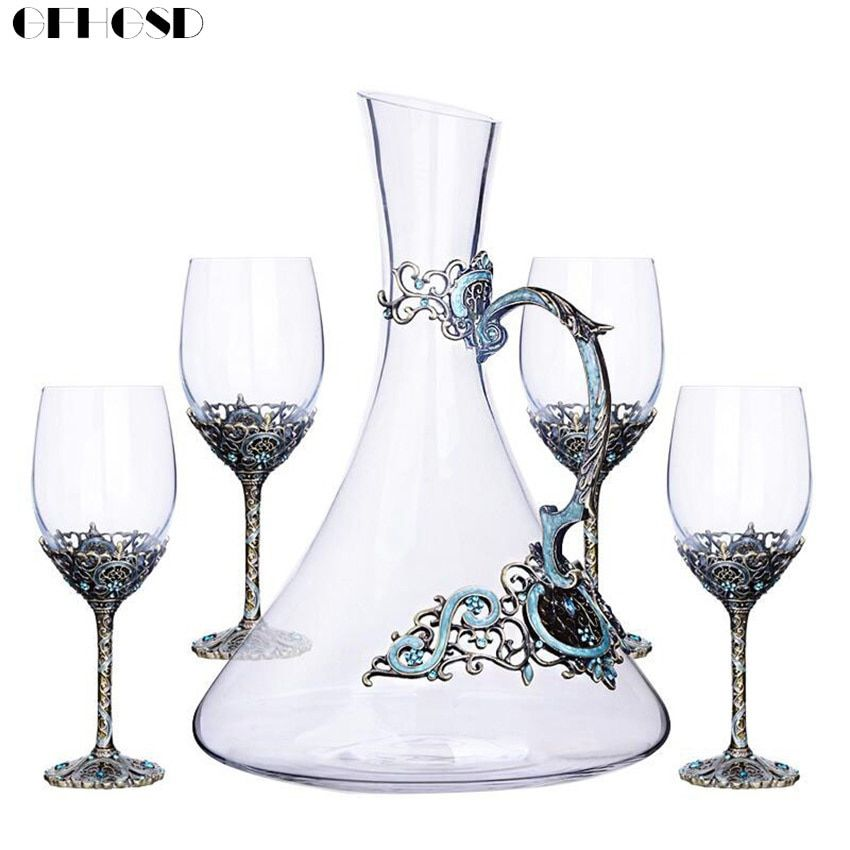 GFHGSD 5Pcs/Sets Creative Enamel Wine Glass Goblet Crystal Glass Wine Glass Gift Set CDX201