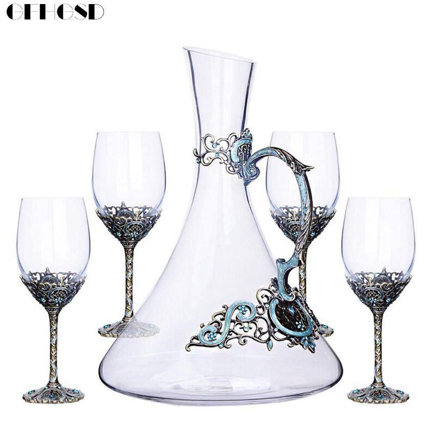 GFHGSD 5Pcs/Sets Creative Enamel Wine Glass Goblet Crystal Glass Wine Glass Gift Set CDX201
