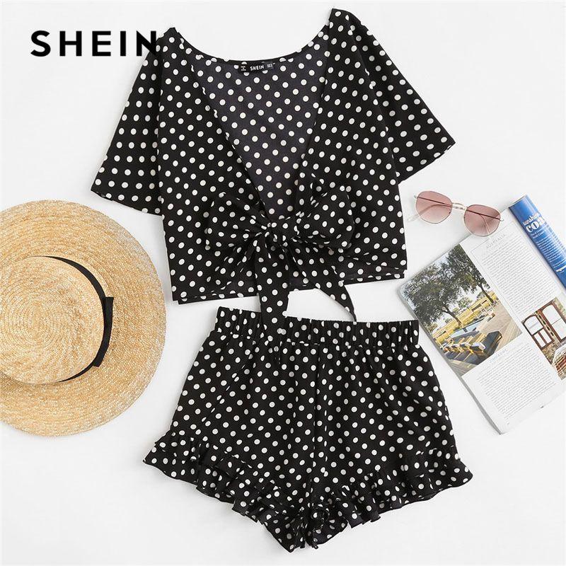 SHEIN Polka Dot Knot <font><b>Front</b></font> Top And Ruffle Hem Shorts Set 2018 Summer Deep V Neck Short Sleeve Clothing Women Sexy 2 Pieces Sets