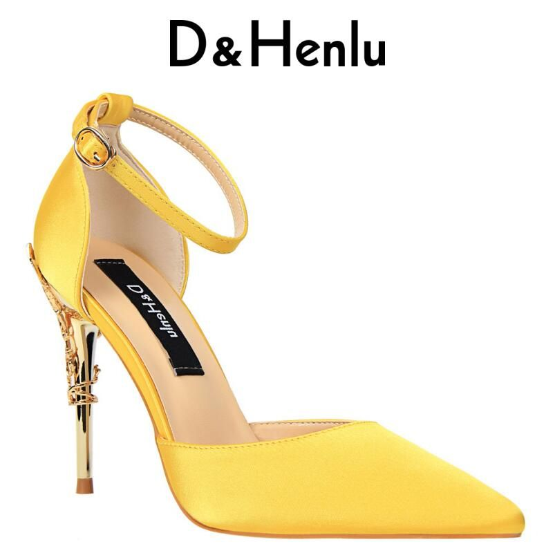 {D&Henlu} 2018 New Summer Shoes Woman Women's D'Orsay & Two-Piece High Heels Silk Yellow Stilettos Carved Metal Heel Party Shoes