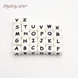 TYRY. HU 1 pc 12mm Silicone Dentition Alphabet Lettre Perles Silicone Perle Pour Personnalisé Nom Decklace BRICOLAGE Silicone lettre