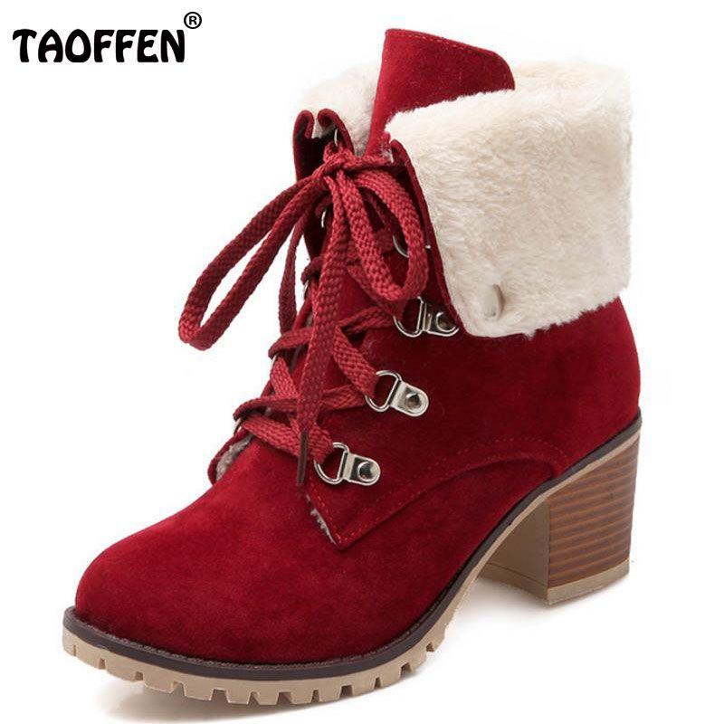 Taoffen/Размеры 34–43 толстом Мех животных Женские ботильоны полусапожки на высоком каблуке с обувь на меху Для женщин теплые зимние Botas обувь