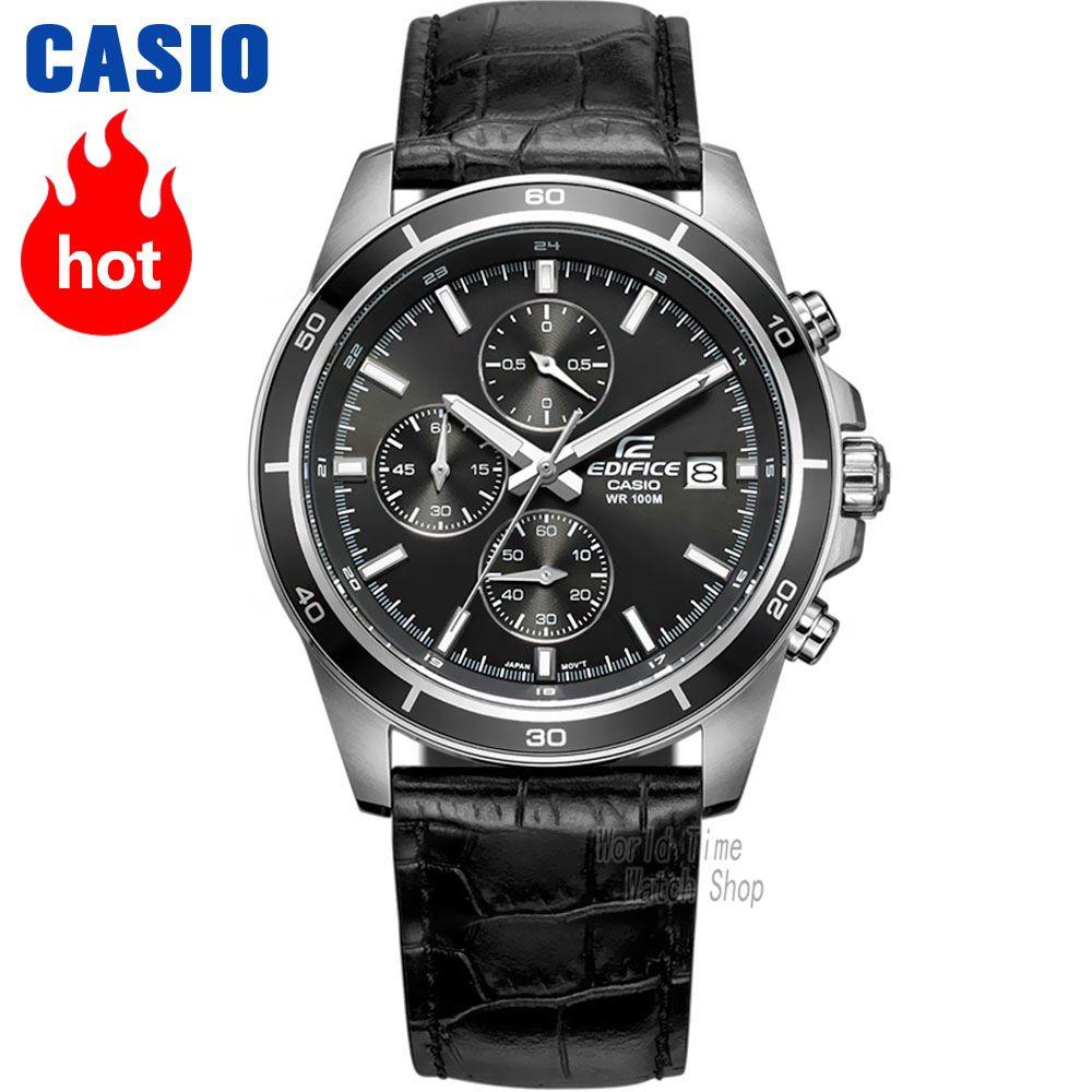 Casio uhr Edifice herren Quarz Sport Uhr Lederband Stahl Gürtel Business Wasserdichte Uhr EFR-526