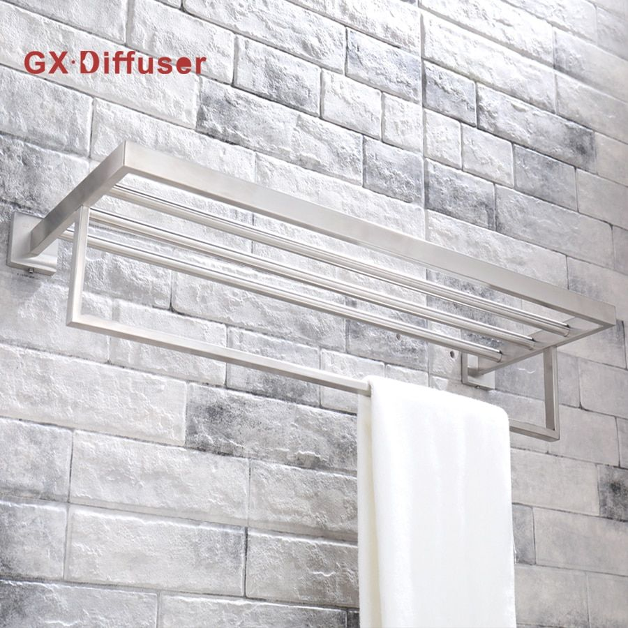GX Diffsuer 304 Stainless Steel Square Bathroom Wall Towel Rack Holder Double Shelf Wall Mount High Class