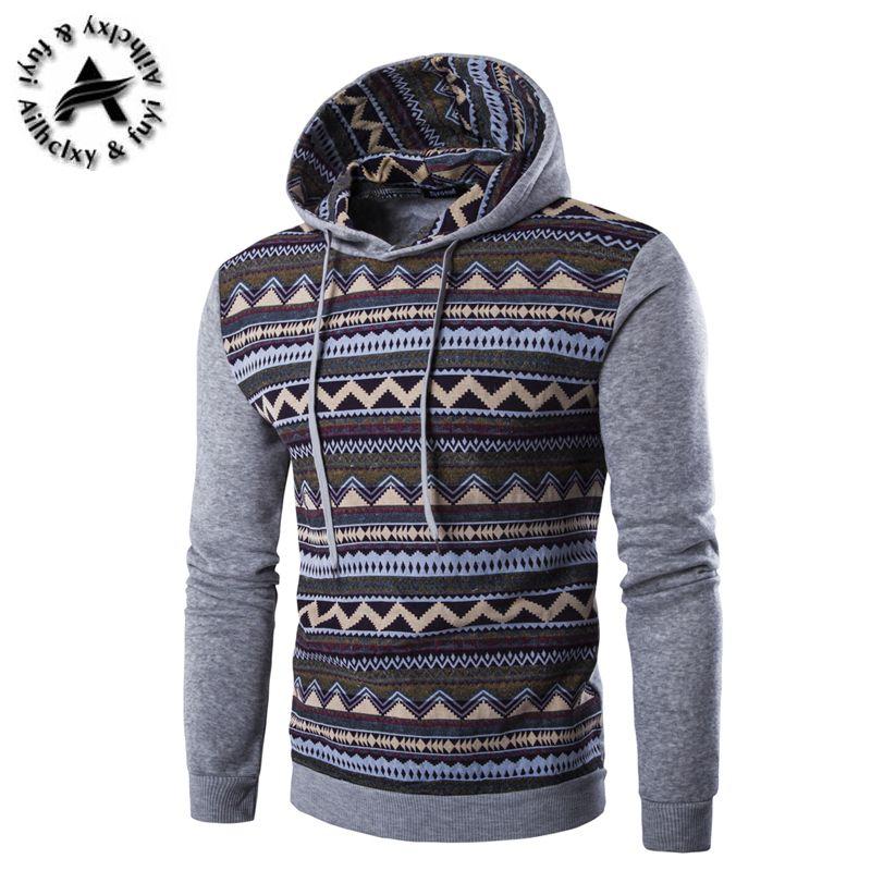 2017 Male Hoodie hip hop pullover Men Brand Hoodie Fashion Geometric Print Sweatshirt Men Slim Fit Mens Sweatshirts Hoodies XXL