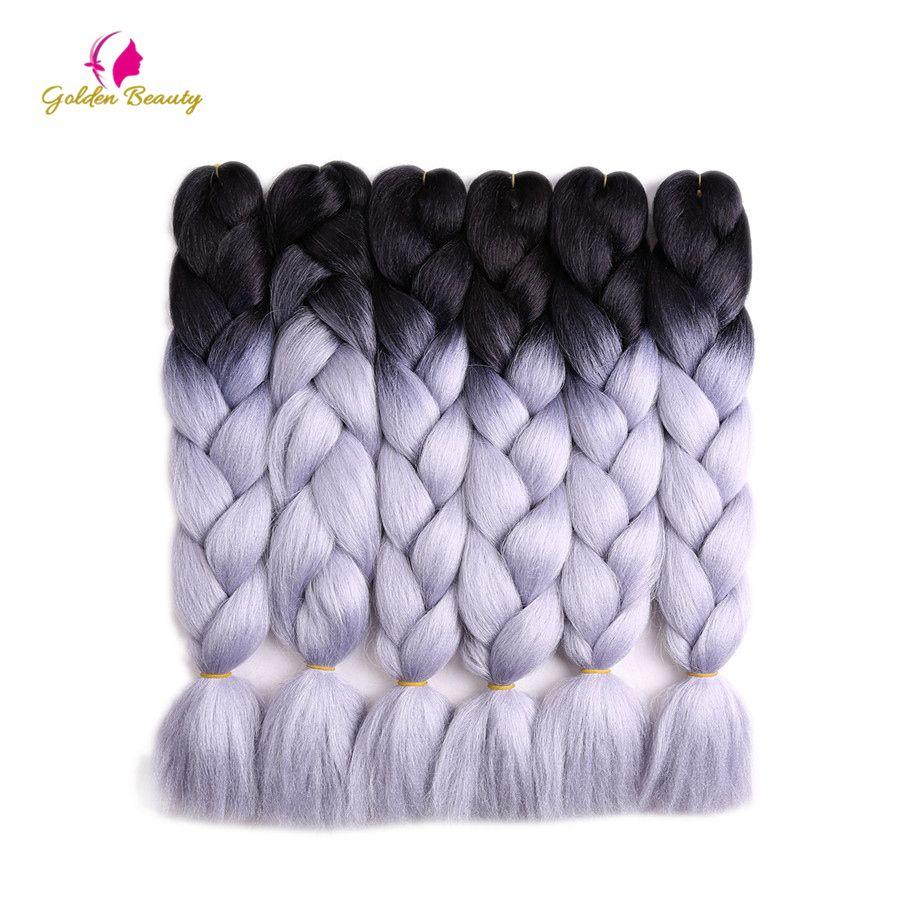 Beauté d'or 10 packs/lot 24 pouces Deux Ton Crochet Tresses Jumbo Tresse Extnesions Cheveux Synthétiques Tresse De Cheveux pour