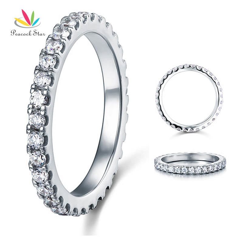 Peacock Star Eternity Solid 925 Sterling Silver Wedding Band Stacking Ring Jewelry CFR8045