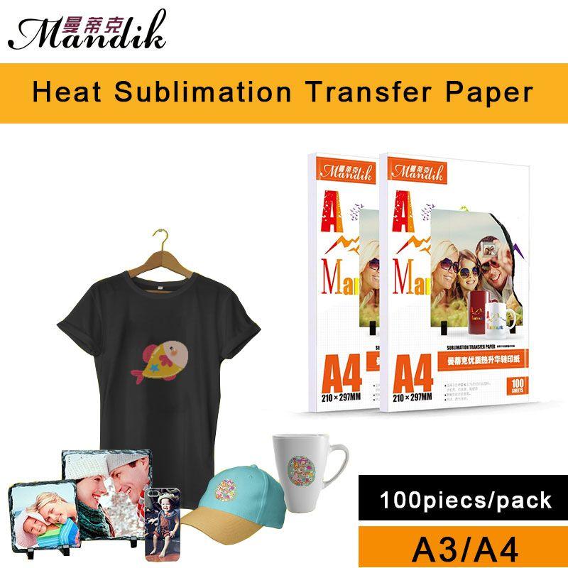 100gsm A3 A4 100 feuilles par lot papier photo de transfert de chaleur par sublimation d'impression à jet d'encre