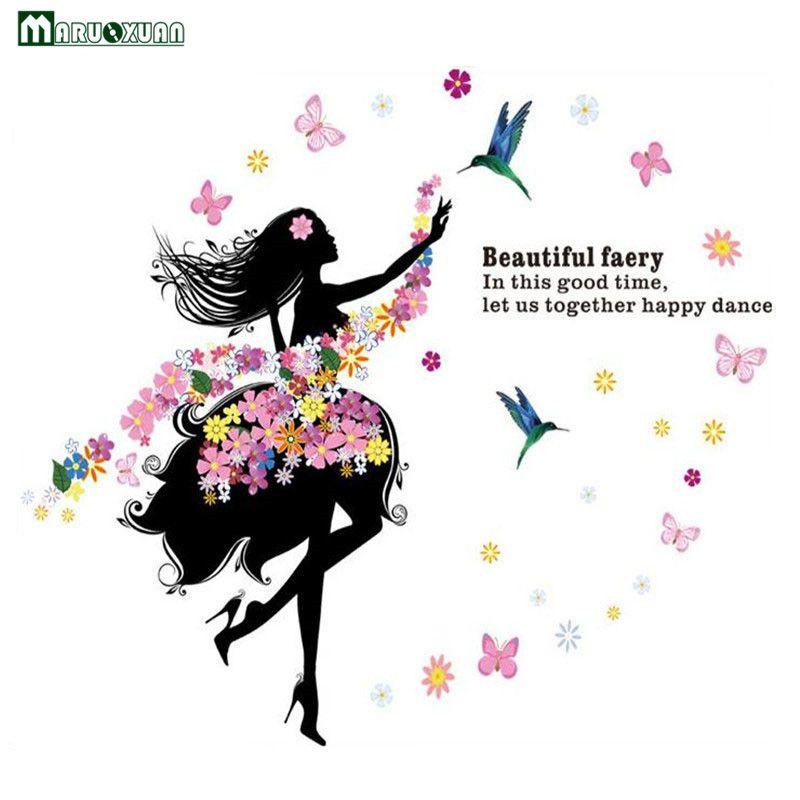 Maruoxuan 2017 Romantique Fée Fille Stickers Muraux Pour Chambre D'enfants Chambre Salon Décor À La Maison Papillon Fleur Vinyle Sticker