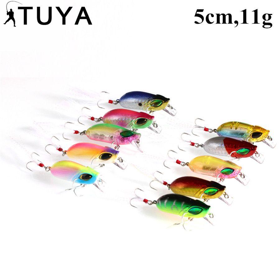 TUYA 10 pièces/ensemble insecte manivelle appât pêche leurre basse dure manivelle vairon Wobbler flotteur appâts artificiels 5 cm 11g