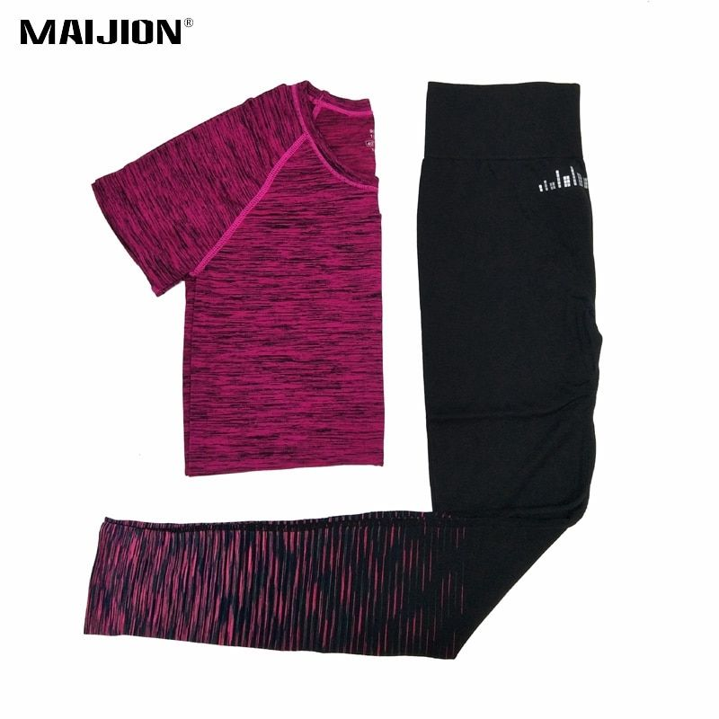 MAIJION 2017 Women Yoga Running Sets Quick Dry Breathable Sport T Shirts & Pants Jogging Sets Gym Sport Suit Running Tracksuit
