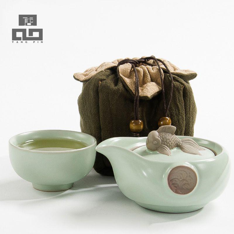 TANGPIN drinkware café thé ensembles en céramique théière bouilloire thé porcelaine portable voyage thé ensemble chinois kung fu thé ensemble