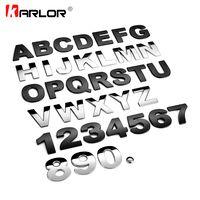 45 мм 3D Металл DIY буквы алфавита эмблема Chrome Наклейки для автомобиля цифровой Знак автомобилей логотип автомобиля Интимные аксессуары мотоц...
