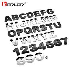 45mm 3D metal DIY las letras del alfabeto emblema cromo Etiquetas de coche insignia digital automóviles coche Accesorios motocicleta etiqueta