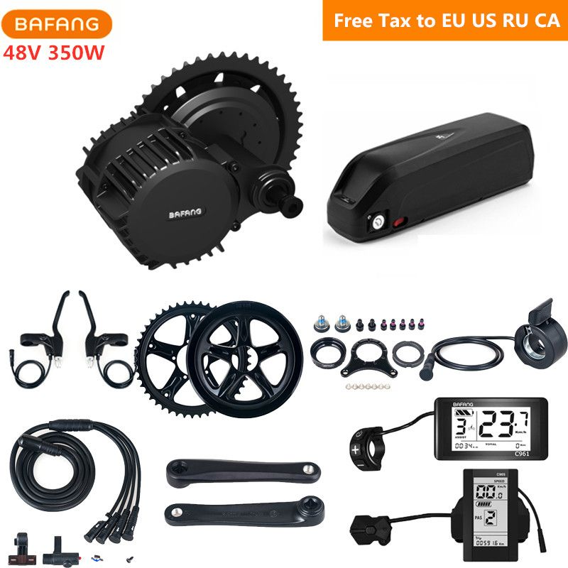 Bafang 8fun 48 v 350 watt BBS01B Mitte Antrieb Motor Kits Mit 48 v 17AH Hailong Lithium-Batterie C965 C961 eletric Fahrrad Conversion Kits