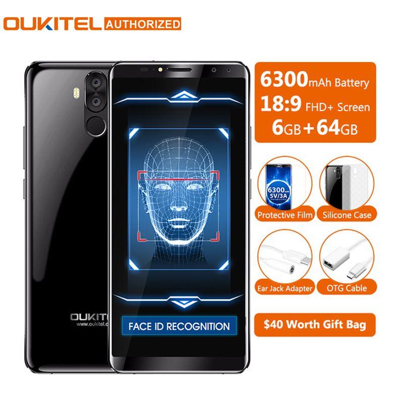 Oukitel K6 18:9 6.0'' Display Face ID 6GB RAM 64GB ROM MTK6763 Octa Core 6300mAh Fast Charge Fingerprint 16MP 4 Cams Cellphone