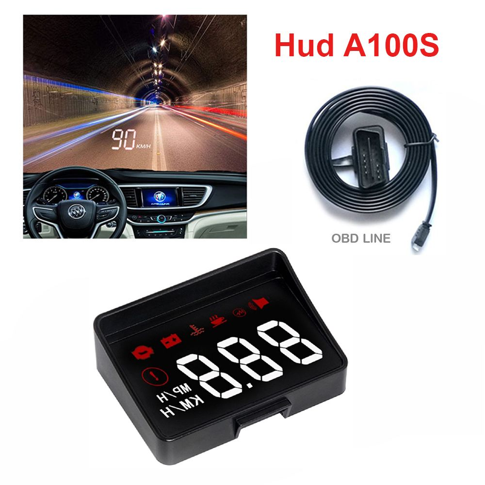 A100S Car HUD Head Up Display New Generation A100 OBD2 Overspeed Warning System Projector Windshield Auto Electronic Alarm