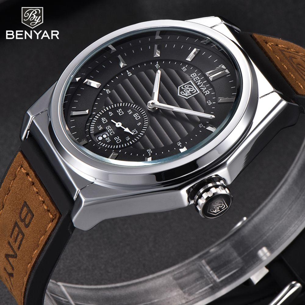 New Watches Male Unique Men Watch BENYAR Luxury Brand Sports Quartz Military Steel Leather Wrist Watch Men relogio masculino