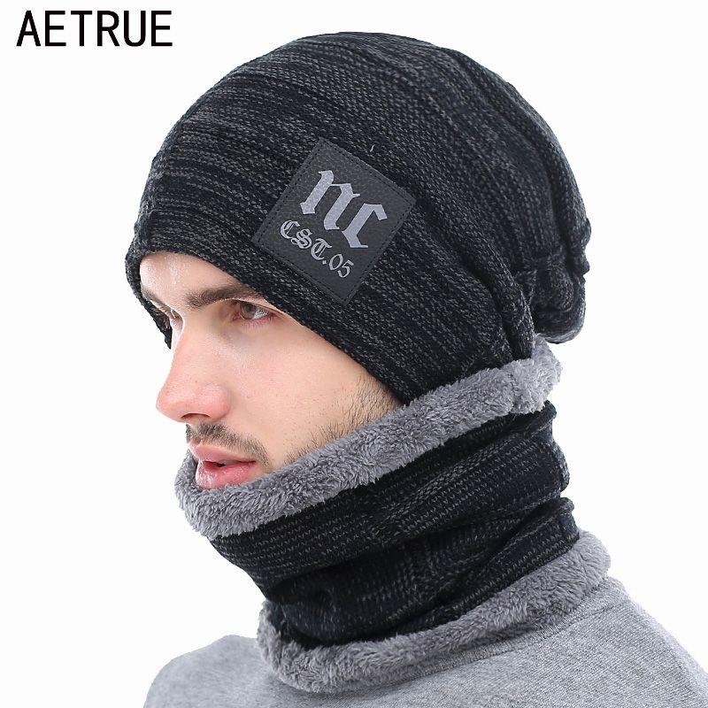 AETRUE Winter Knitted Hat Beanies Men Women Scarf Caps Mask Gorras Bonnet Warm Baggy Winter Hats For Men Skullies Beanies Hats