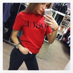 2018 New Summer T-Shirt Women VOGUE High Cotton Fashion Red Letter Print Casual Knitwear Short Sleeve Punk Tees Shirt 3 Colors