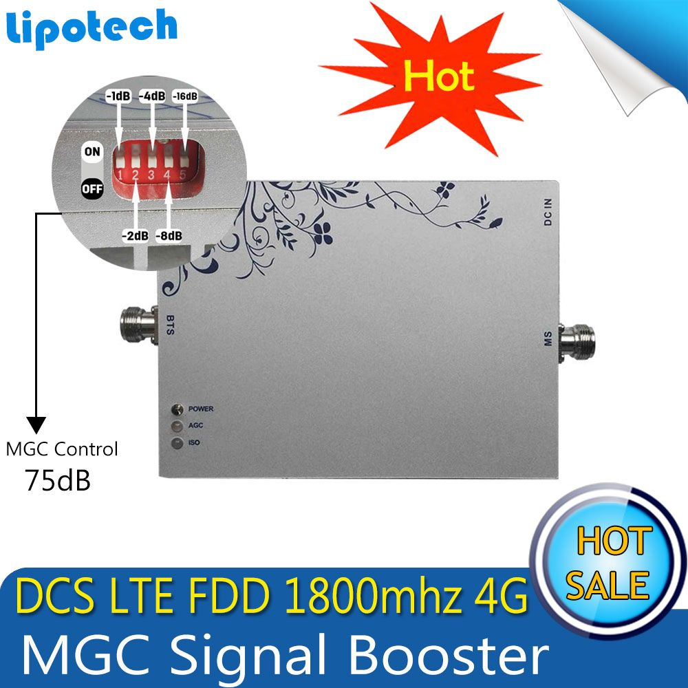 Gain 75dB Signal Repeater 4G GSM LTE 1800 mhz Mobile Booster (Band 3) DCS LTE 1800 mhz Handy MGC/AGC Verstärker Repetidor