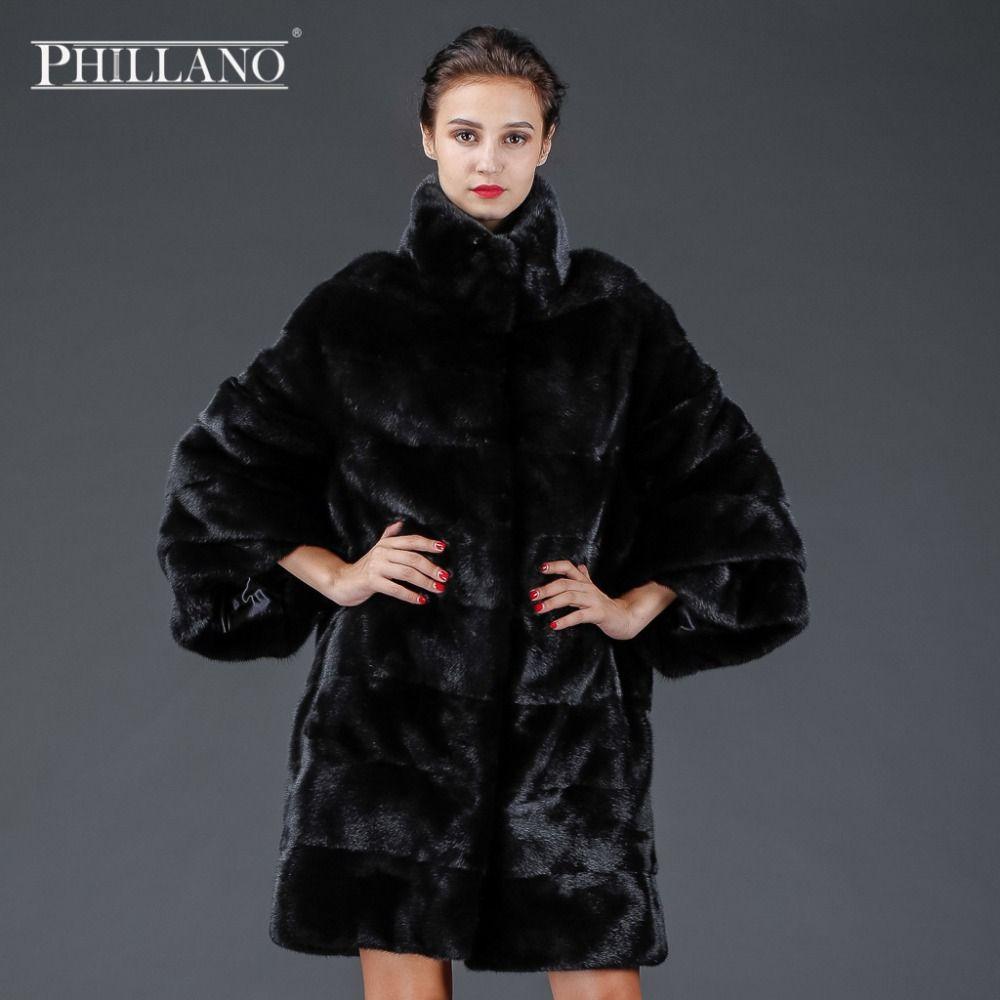 SALE New PHILLANO Premium Women Real Fur Thick Warm Regular Coat Full Big Sleeve Mink Scandinavia Denmark NAFA YG14053-90