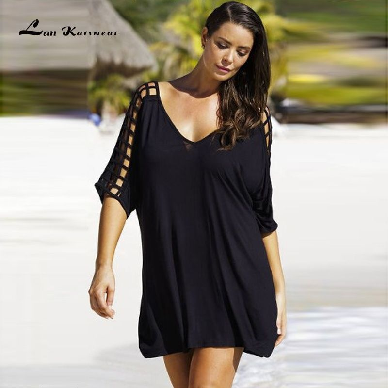 2018 Summer Dresses Sexy V Neck Lose tshirt Dress <font><b>Hollow</b></font> Out Femme Beach Dresses Casual Plus Size Women Tops and Blouses vestido